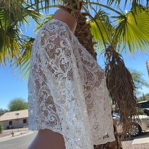 Sequins & Lace Sheer Open Bolero Jacket